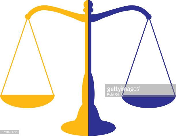 two color scales of justice icon - scales stock illustrations