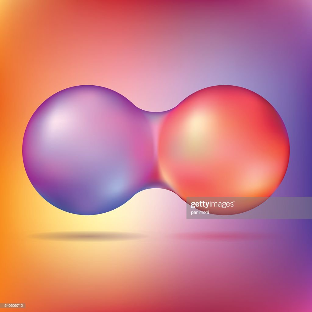 Two colored spheres have merged with each other
