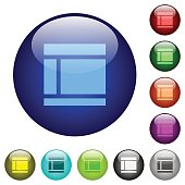 Two columned web layout color glass buttons