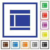 Two columned web layout framed flat icons