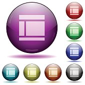 Two columned web layout glass sphere buttons