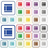 Two columned web layout outlined flat color icons