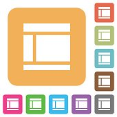 Two columned web layout rounded square flat icons