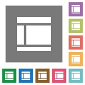 Two columned web layout square flat icons