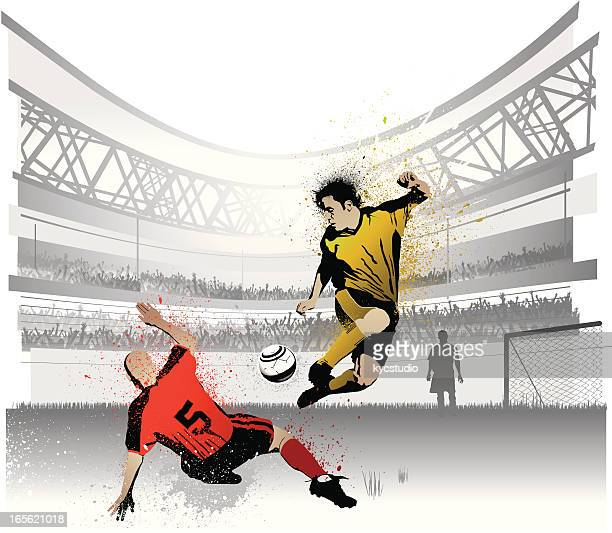 two competing soccer players in stadium - competitive sport stock illustrations, clip art, cartoons, & icons