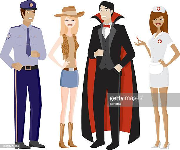two couples in halloween costumes - count dracula stock illustrations, clip art, cartoons, & icons