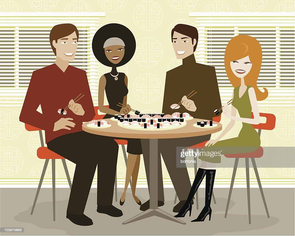 Two Couples Out For Sushi : stock illustration