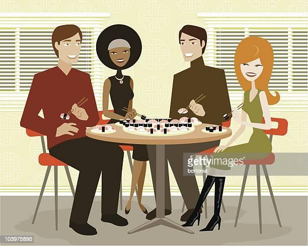 ilustraciones, imágenes clip art, dibujos animados e iconos de stock de dos parejas por sushi - mesa de comedor