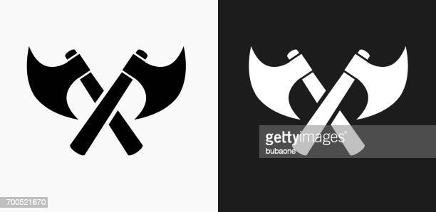 Two Crossed Axes Icon on Black and White Vector Backgrounds