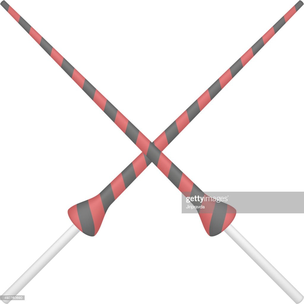 Two crossed lances in black and red design