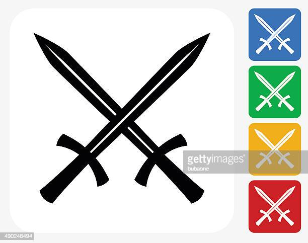 Two Crossed Swords Icon Flat Graphic Design