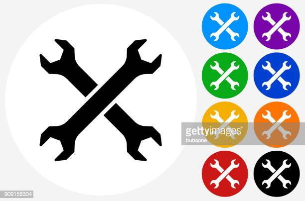two crossed wrenches. - wrench stock illustrations
