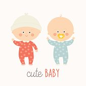 Two cute babies standing with baby pacifier. Toddler boy and girl smiling.