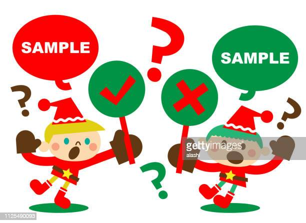 two cute boys santa claus holding right and wrong sign (true-false question, yes-no question) - wrong way stock illustrations, clip art, cartoons, & icons