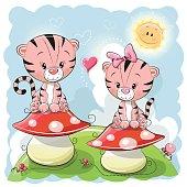 Two Cute Cartoon Tigers and mushrooms