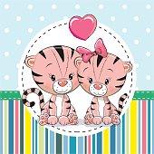 Two cute Cartoon Tigers