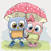 Two cute Lovers Owls