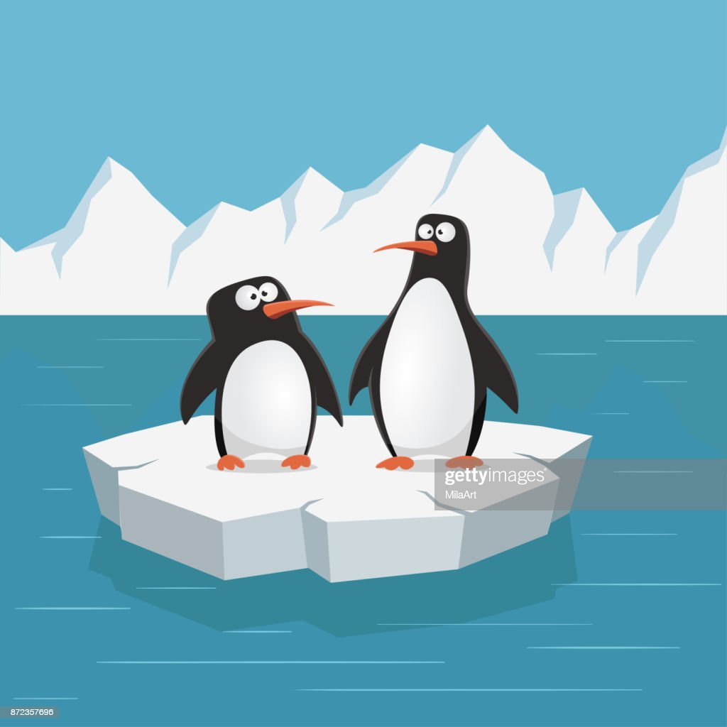 Two cute penguins on ice floe. Vector illustration.