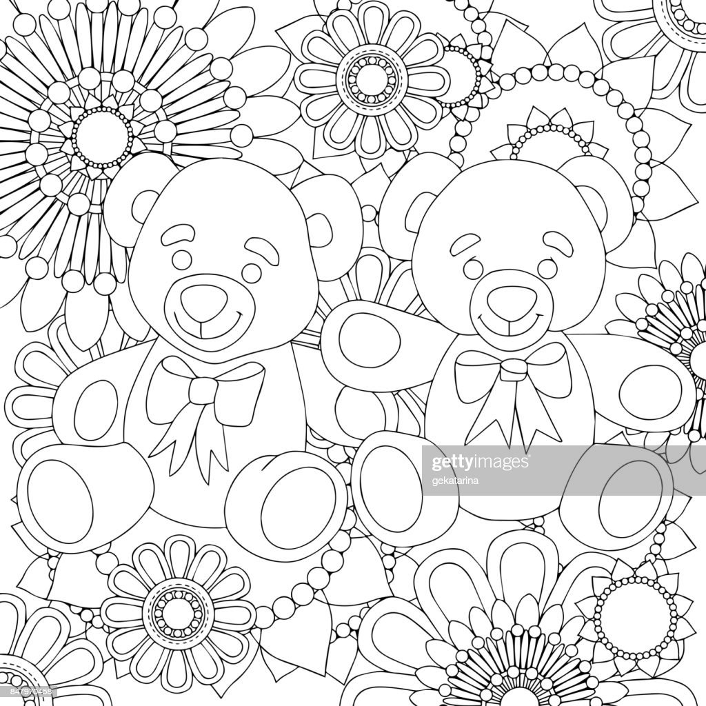 Two Cute Teddy Bears Linear Black And White Art With Floral Pattern