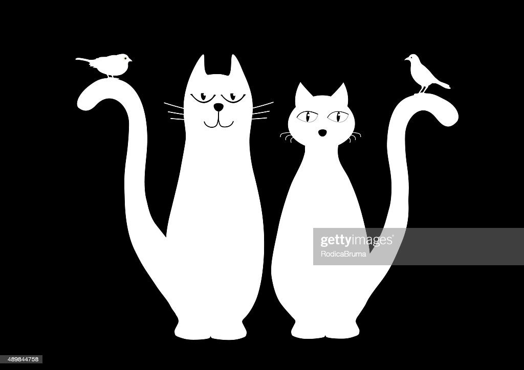 Two cute white cats and birds