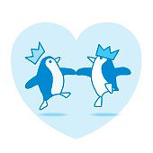 Two Dancing Penguins Partying on Blue Heart