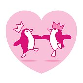 Two Dancing Penguins Partying on Pink Heart