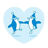 Two Dancing Santa Penguins Partying on Blue Heart