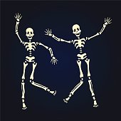 Two dancing skeleton. Vector illustration, isolated on black.