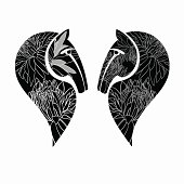 Two decorative horses' heads. Vector illustration
