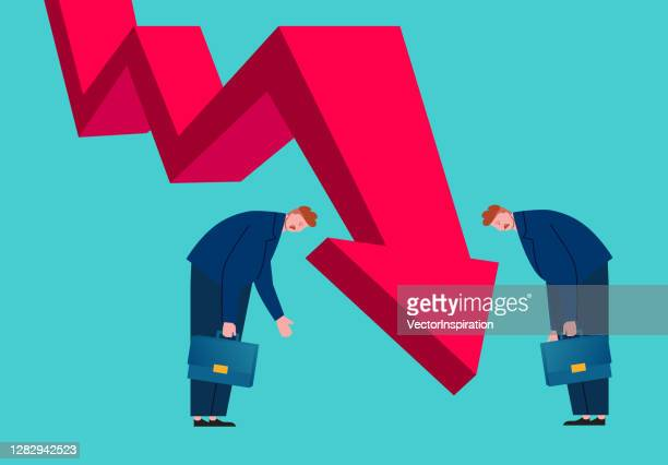 two desperate businessmen looking at arrows falling, economic collapse and recession - overworked stock illustrations