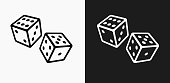 Two Dice Icon on Black and White Vector Backgrounds