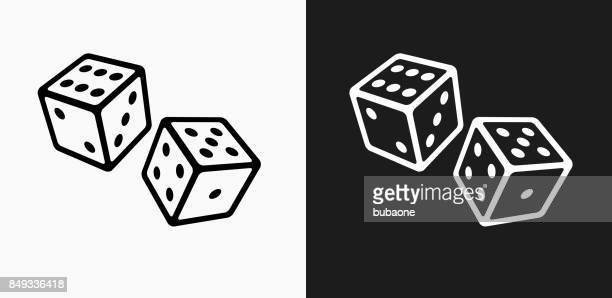 two dice icon on black and white vector backgrounds - leisure games stock illustrations