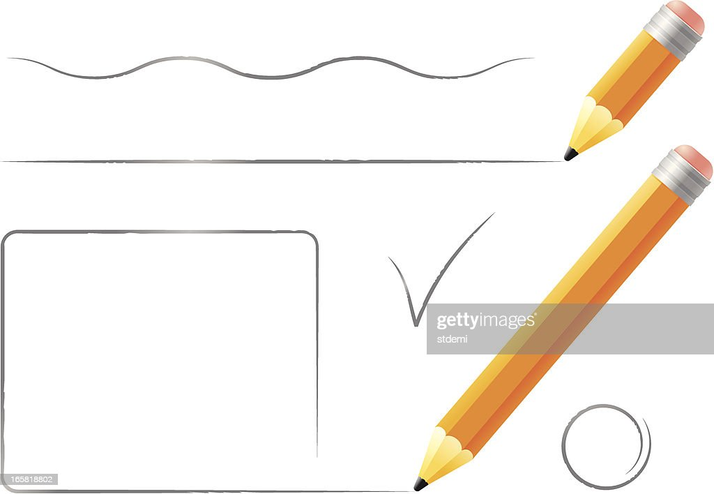 Two different sized pencils drawing on a piece of paper