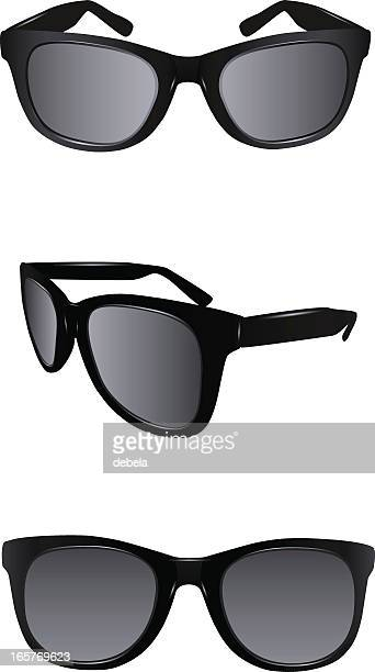 two different views of black sunglasses - sunglasses stock illustrations