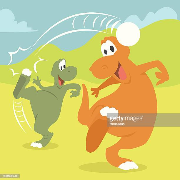 Two dinos playing football
