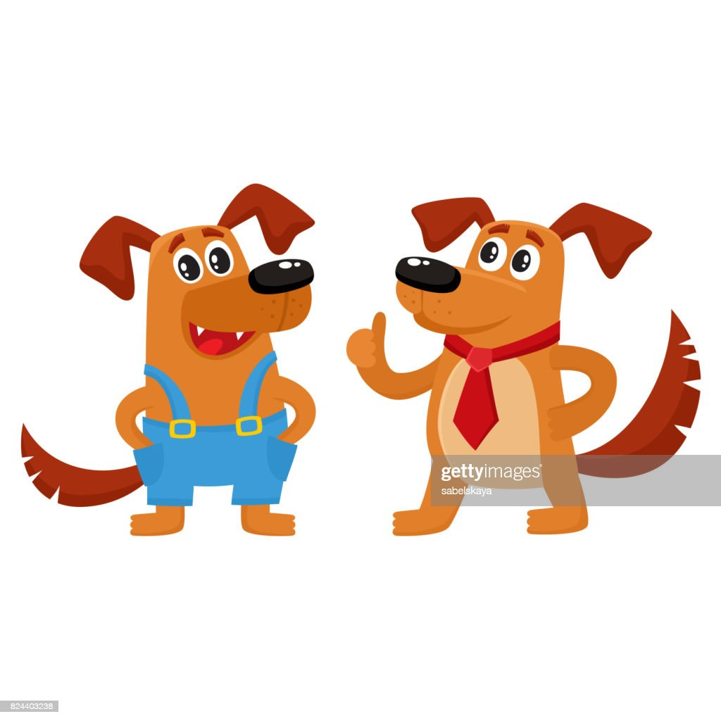Two dog characters, in blue overalls and red tie
