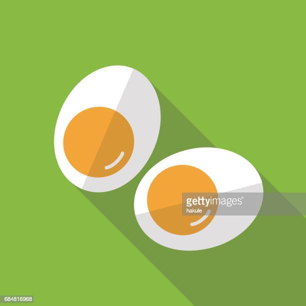 two egg slice, flat icon design, vector illustration - animal egg stock illustrations, clip art, cartoons, & icons