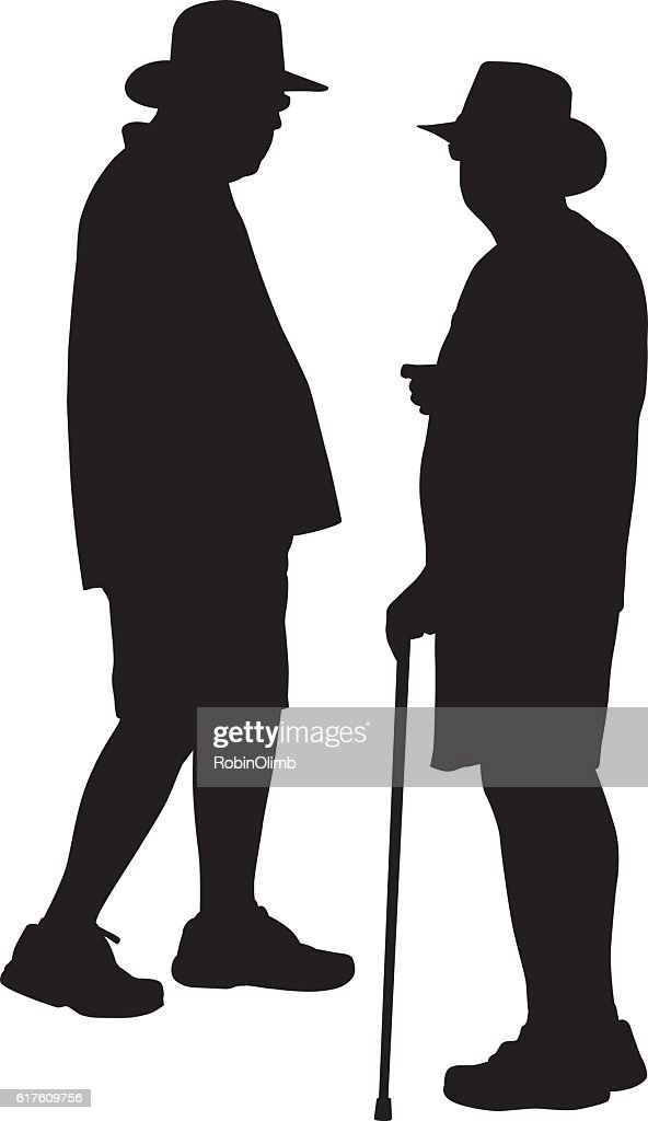 Two People Talking Silhouette
