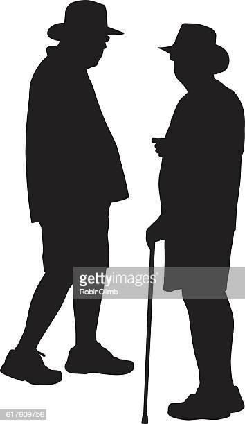 Two Elderly Men Talking Silhouette