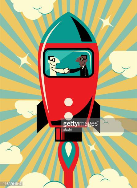two entrepreneur businessmen meeting with a handshake inside of flying rocket (spaceship, space shuttle) - kick off stock illustrations