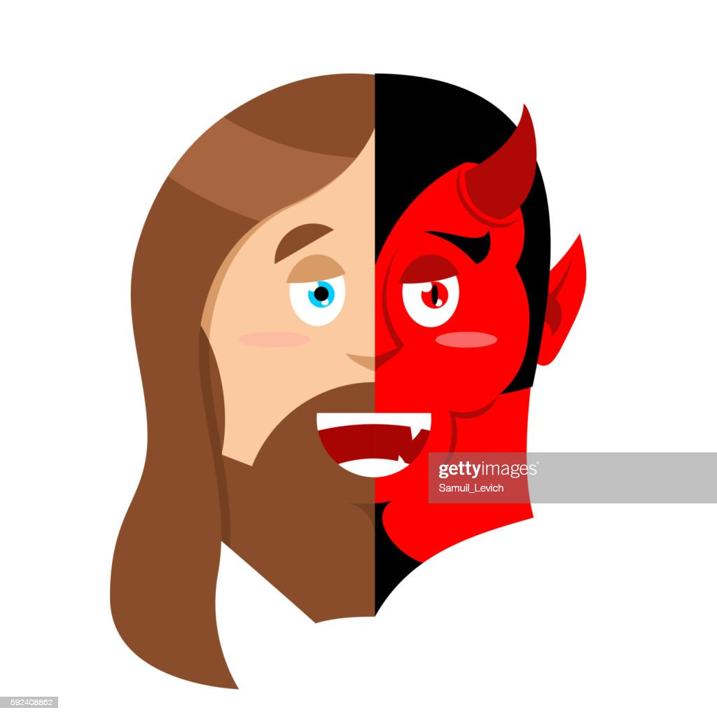 Two face Jesus and devil. Half face Son God