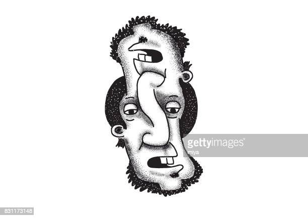 two face - stretched image stock illustrations, clip art, cartoons, & icons