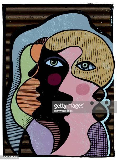 2つの顔の抽象的なイラスト - 北ヨーロッパ点のイラスト素材/クリップアート素材/マンガ素材/アイコン素材