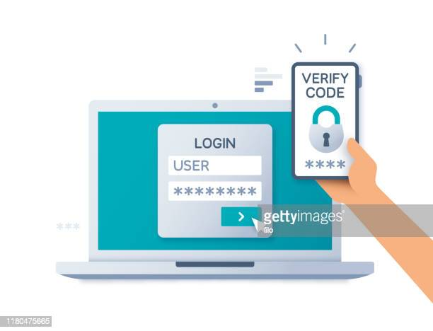 illustrazioni stock, clip art, cartoni animati e icone di tendenza di two factor multi-factor authentication security concept - sicurezza