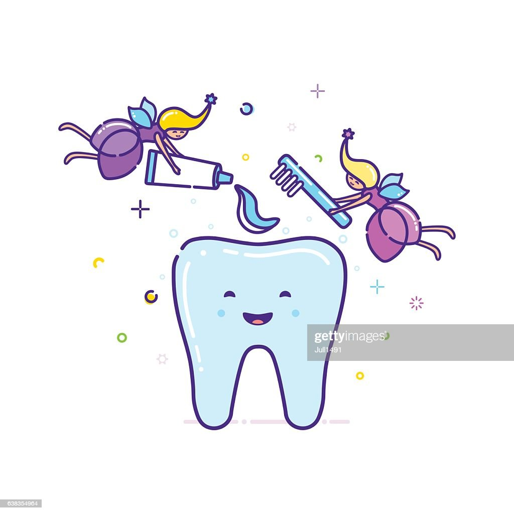 Two fairies clean the tooth with a toothbrush. Vector