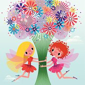 Two Fairies Holding a Bouquet.