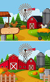 Two farm scenes with barn and animals