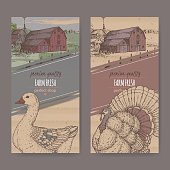 Two farm shop labels with color farmhouse, barn, goose and turkey on cardboard.