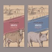 Two farm shop labels with farmhouse, barn, cow and pig.