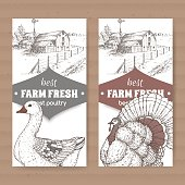 Two farm shop labels with farmhouse, barn, goose and turkey on white.